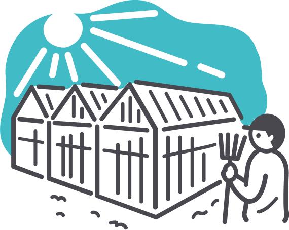 """主に温室ハウス用資材や、<br class=""""pc"""">農作物育成用補助部材などの製造"""
